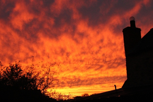 the sky on fire